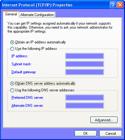 Return your TCP/IP properties back to DHCP (Windows XP)